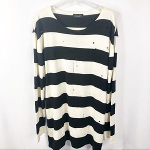 ZARA MAN Black and White Distressed sweater
